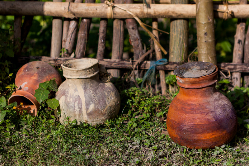 Earthen pits made without the potter's wheel on the island of Majuli I. Assam, India.