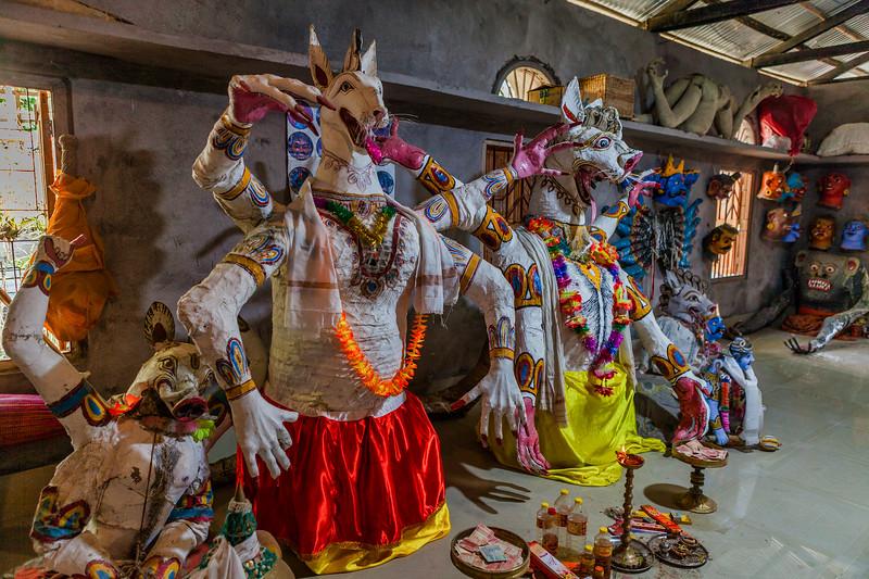 Masks in the Chamaguri Satra on the Majuli island in Assam, India.