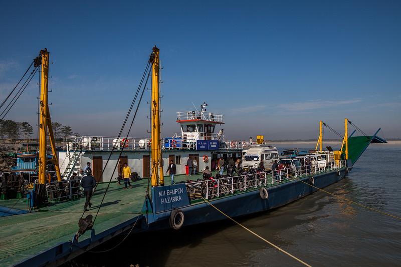 M V - Bhupen Hazarika ferry at Nimatighat ferry terminal,  Jorhat District, Assam, India