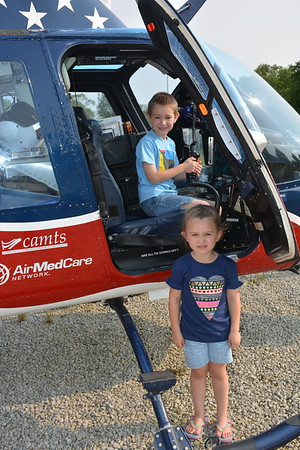 Owen and Evalyn Wendt of Effingham check out Air Evac's medical helicopter. Dawn Schabbing photo