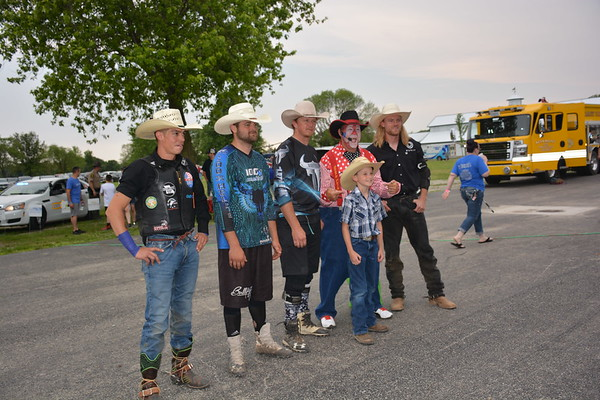 Front and center is Landon Cain, 9, Mason, with some rodeo riders. Dawn Schabbing photo