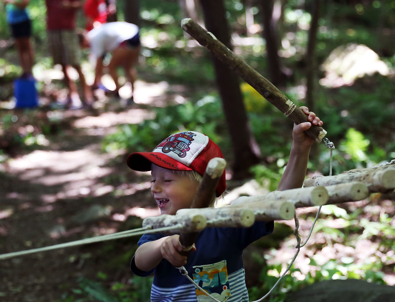 HOLLY PELCZYNSKI - BENNINGTON BANNER HOLLY PELCZYNSKI - BENNINGTON BANNER Johannas Koch 4 years old visiting from Germany takes a whack at the nature xylophone created by campers of the Vermont Art's Exchange Make Art, Make Noise! Camp, held at the Bennington Museum's George A Aiken Trail in Bennington.