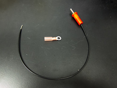 Banana plug and wire assembled with wiring harness to be attached