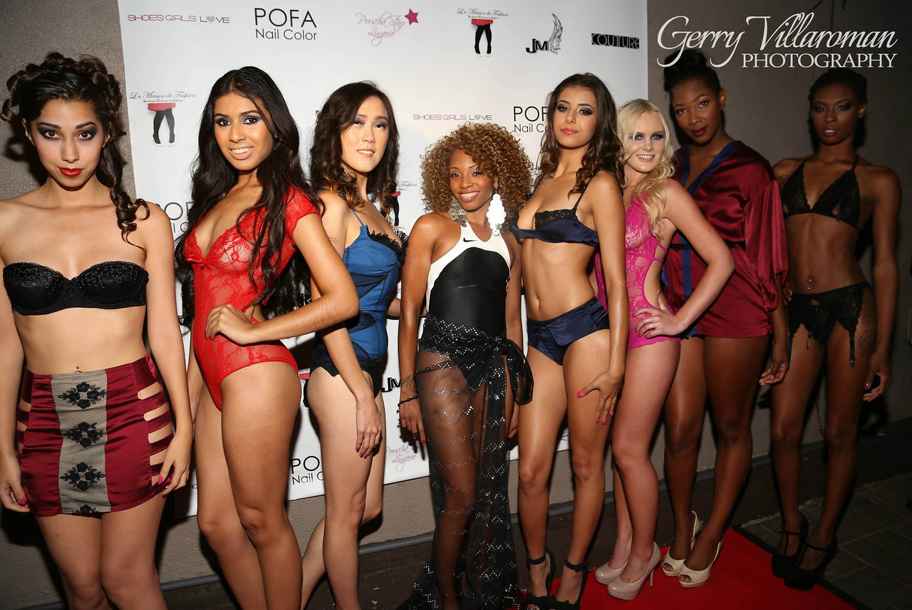 Makeup on model in two piece, model on far left and model on far right by Ande Castaneda