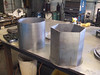 round container and hex container ready for welding