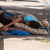 Street folks sleeping