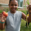 Kids got to learn about the ingredients that go into slasa before they made some themselves at the Leominster Public Library Wednesday, August 21, 2019. Kids got to pull some of the ingredients for their salsa from the libraries own garden. Darius Ruffin, 8, from Dedham visiting his grandparents for the summer showed of the onion and tomato he pulled form the library's garden to put in his salsa. SENTINEL & ENTERPRISE/JOHN LOVE