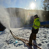 KRISTOPHER RADDER — BRATTLEBORO REFORMER<br /> Crews from J Evans Construction & Vinyl Graphics make snow at the Harris Hill Ski Jump in Brattleboro on Thursday, Jan. 30, 2020.