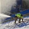 KRISTOPHER RADDER — BRATTLEBORO REFORMER<br /> Crews from J Evans Construction & Vinyl Graphics make snow at the Harris Hill Ski Jump in Brattleboro on Thursday, Jan. 30, 2020.