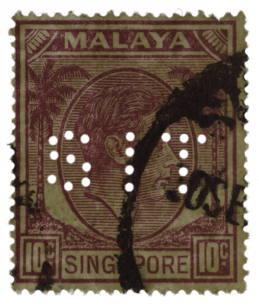Malaya Singapore 1949 10c KGVI Singapore Improvement Trust SIT perfin