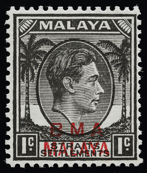 BMA Malaya 1 cent striated paper