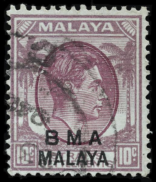 BMA Malaya 10c striated paper