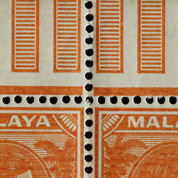 Malaya Straits Settlements 2c orange on striated paper with pillars/space fillers in gutter/margin
