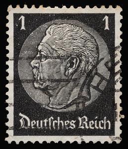 President Paul von Hindenburg 1934—1936, printed on swastika-watermarked paper during the Third Reich.