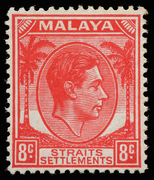 Straits Settlements King George VI unissued 8c scarlet
