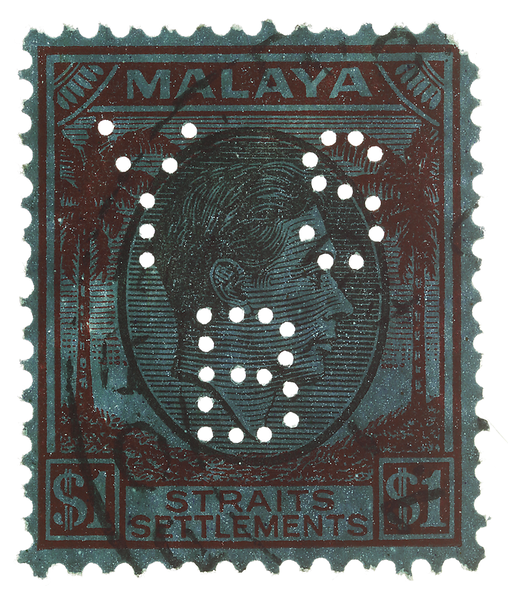 Malaya Straits Settlements KGVI $1 with Yokohama Specie Bank YSB perfin