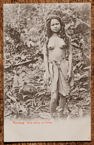 Orang Asli girl in leaf skirt in jungle on Malaya postcard
