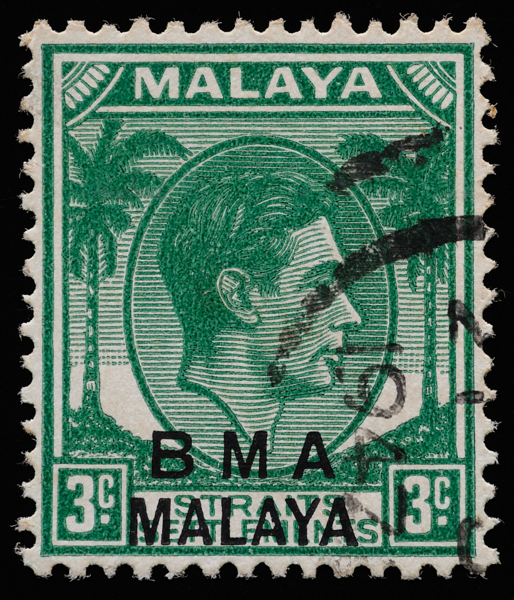 BMA MALAYA 3c green on substitute paper, heavy print