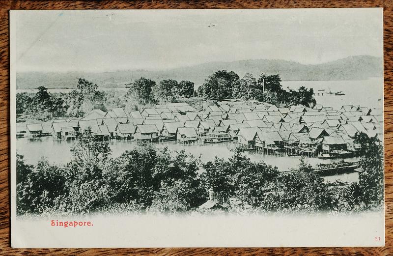 Kampong Telok Saga, Pulau Brani, Singapore (postcard)