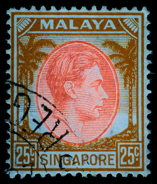 UV fluorescence of Singapore 1948 25c Die III