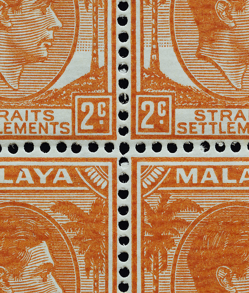 Malaya Straits Settlements 2 cents orange 1941 block of 4 on striated paper