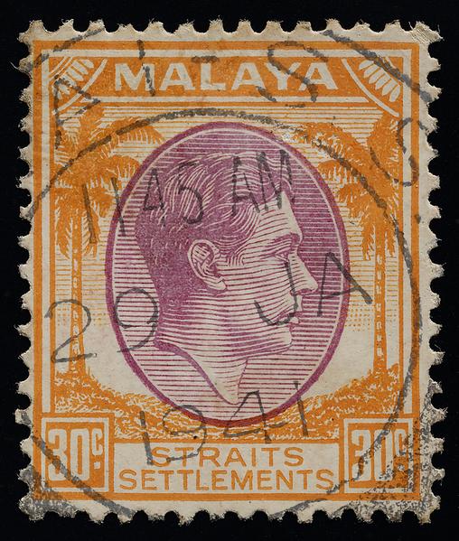 Malaya Straits Settlements 30c KGVI 1937