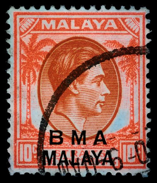 BMA MALAYA 10c chalky paper bicolour UV fluorescence
