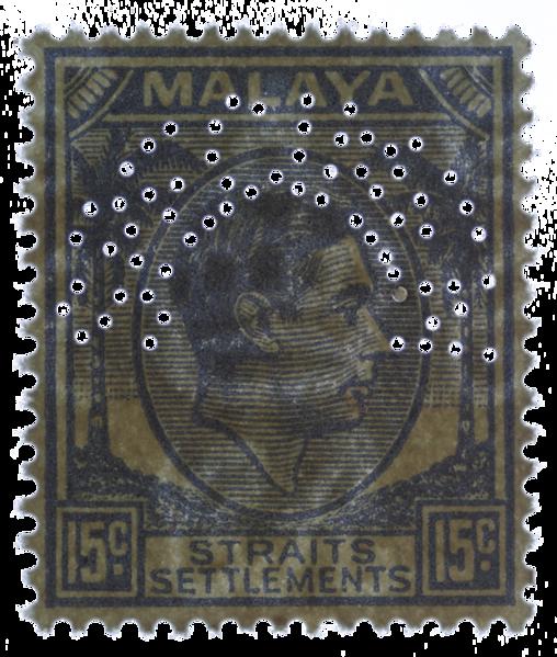 Malaya Straits Settlements 15c KGVI specimen perfin multiple script CA watermark