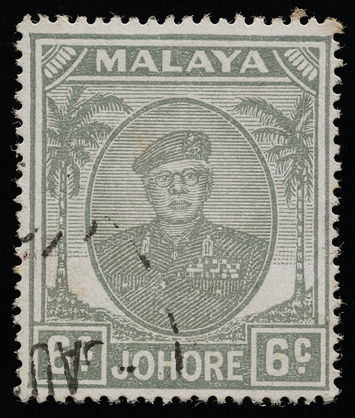 Johore Sultan Ibrahim small heads issue 6c grey