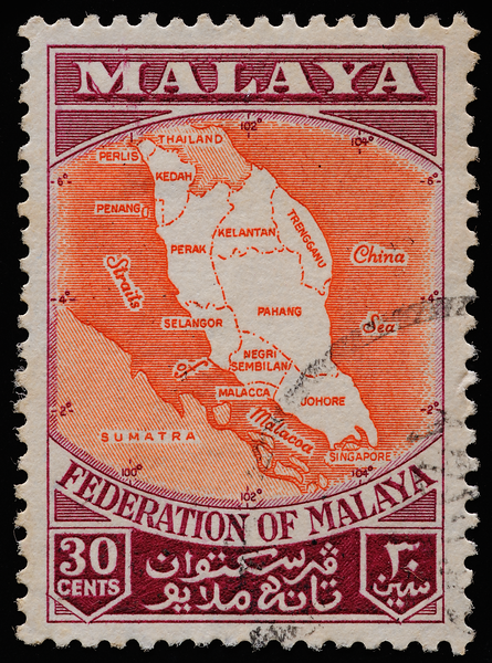 Federation of Malaya map on postage stamp 1957