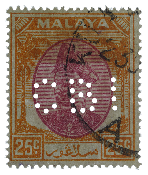 Chartered Bank of India perfin on Malaya Selangor 1949 25c