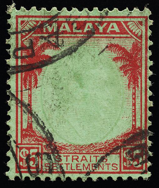Malaya Straits Settlements KGVI $5 faded vignette