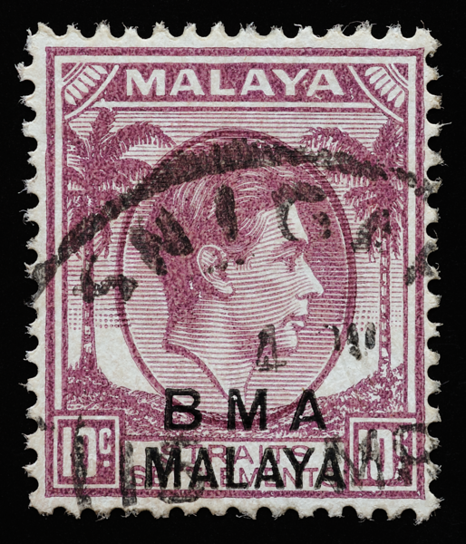 BMA Malaya SNIGAPORE cancellation error on 10c