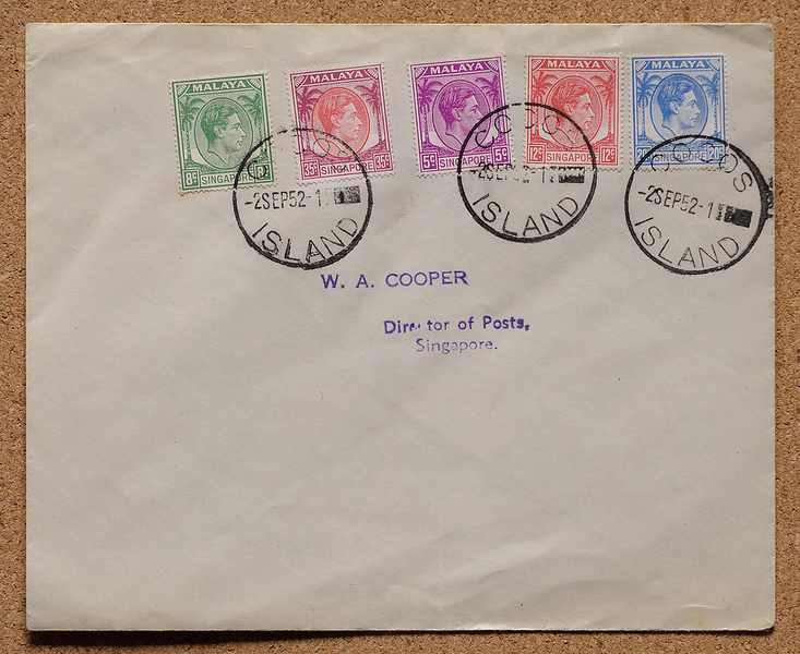 Cocos Islands postal agency first day 2 September 1952 W A Cooper Singapore director of posts cover