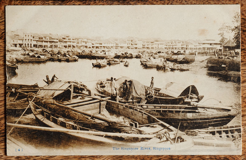 Boat Quay and Singapore River postcard showing bumboats