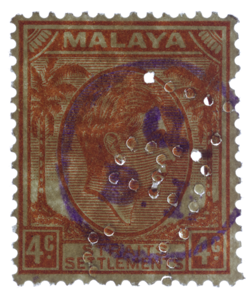 Chartered Bank of India, Australia and China perfin and rubber stamp on Malaya Straits Settlements KGVI 4c