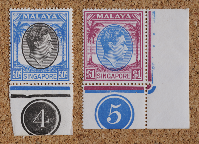 Malaya Singapore KGVI 1949 50 cents and $1 head plates 4 and 5