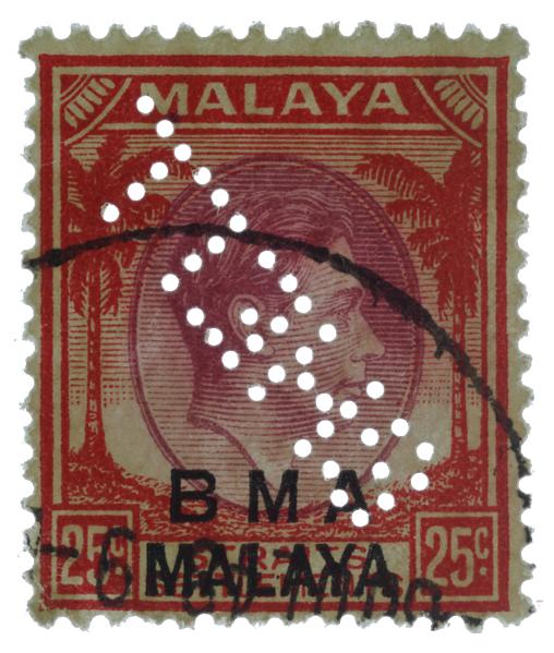 KGVI BMA MALAYA SHELL perfin 25c