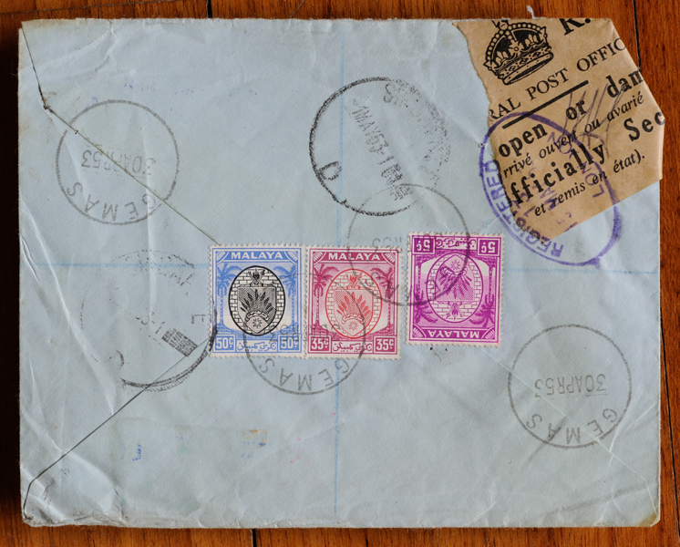 Back of letter salvaged from BOAC Comet crash at Calcutta on 2 May 1953, with coconut definitives of Negri Sembilan, and Gemas and Singapore datestamps
