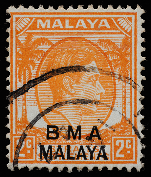 BMA MALAYA 2c orange (Die I)