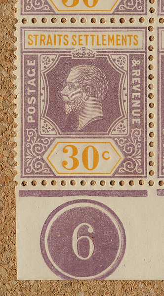 Straits Settlements Imperium KGV 30c margin plate 6