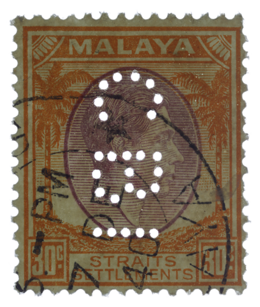 Malaya Straits Settlements KGVI 30c Chartered Bank of India perfin
