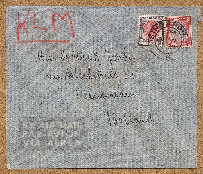 KLM Air Mail cover Straits Settlements KGV