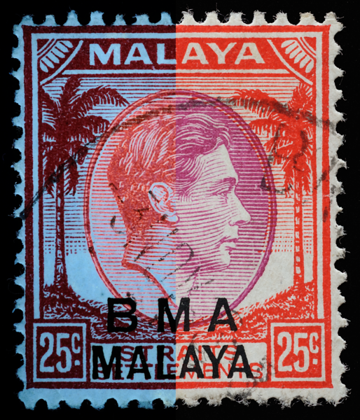 BMA Malaya 25c chalky paper UV-VIS fluorescence composite