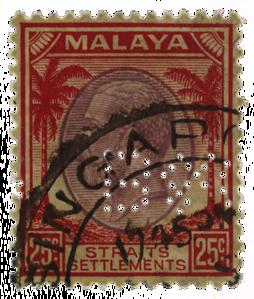 Malaya Straits Settlements 1936 KGV Boustead & Co. perfin 25c