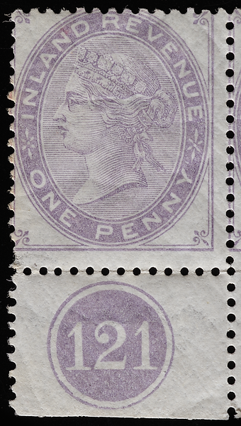 Queen Victoria Penny Lilac Inland Revenue plate 121 (1878)