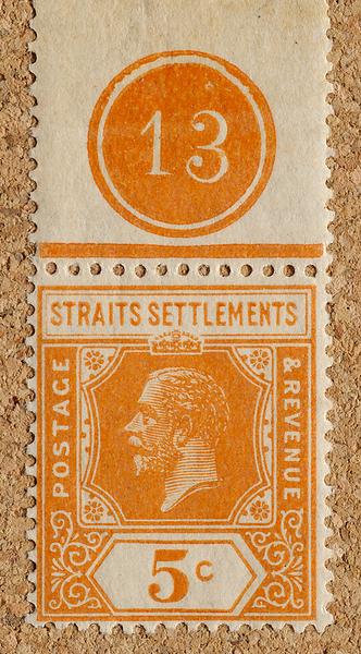 Straits Settlements Imperium KGV 5c margin plate 13