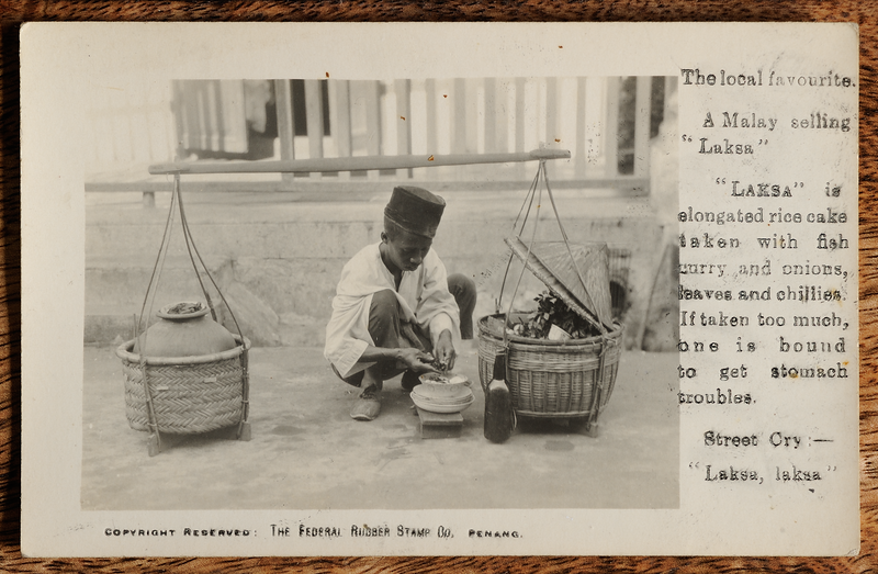 Federal Rubber Stamp Co Penang postcard showing laksa seller with printed annotation