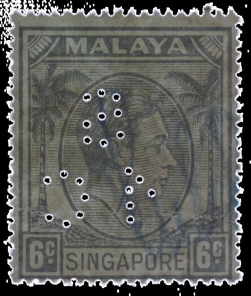 Singapore 1949 Singapore Municipal Commissioners perfin 6c