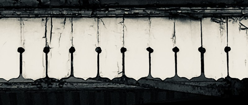 London Underground Barons Court Tube station platform roof fascia